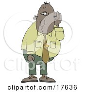 Middle Aged Black Businessman Who Is Hard At Hearing Cupping His Ear To Listen Clipart Illustration