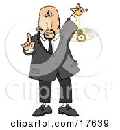 Clipart Illustration Of A Bald Middle Aged Caucasian Man In A Suit Holding One Finger Up And Swinging A Pocket Watch While Hypnotizing And Putting The Viewer Into A Trance