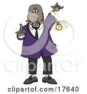 Clipart Illustration Of A Bald Middle Aged African American Man In A Suit Holding One Finger Up And Swinging A Pocket Watch While Hypnotizing And Putting The Viewer Into A Trance