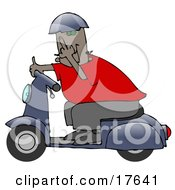 Rude Black Man Wearing A Blue Helmet Red Shirt And Brown Pants Riding Past On A Blue Scooter And Flipping The Viewer Off Clipart Illustration