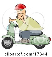 Rude Caucasian Man Wearing A Red Helmet Green Shirt And Blue Pants Riding Past On A Green Scooter And Flipping The Viewer Off Clipart Illustration