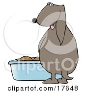 Clipart Illustration Of A Silly Dog Pissing In A Litter Box