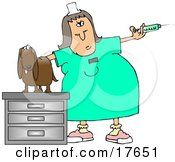 Clipart Illustration Of A Vet Tech Preparing A Syringe To Be Given To A Dachshund