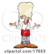 Clipart Illustration Of A Silly Chef Shrugging After Accidentally Dropping Hand Tossed Pizza Dough On His Head
