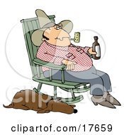 Hillbilly Smoking A Tobacco Pipe Drinking Beer And Sitting In A Rocking Chair With His Loyal Old Hound Dog At His Side