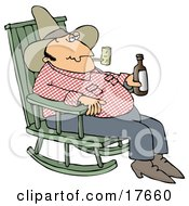 Hillbilly Cowboy Man Sitting In A Rocking Chair Drinking Beer And Smoking A Pipe