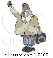 African American Businessman With Braces Smiling Waving And Carrying A Briefcase