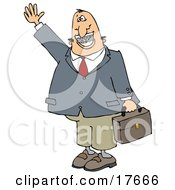 White Businessman With Braces Smiling Waving And Carrying A Briefcase