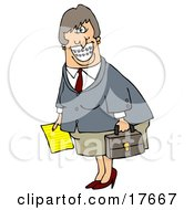 White Businesswoman With Braces Smiling And Carrying A Letter And Briefcase