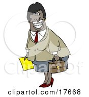 African American Businesswoman With Braces Smiling And Carrying A Letter And Briefcase