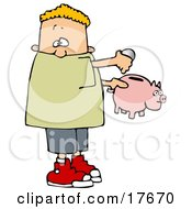 Clipart Illustration Of A White Boy Inserting Change Into A Pink Piggy Bank To Save For Something by djart
