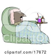 Clipart Illustration Of An Ill Bald Middle Aged African American Man Resting His Head Against A Pillow And Lying Under A Blanket In A Green Chair With Medicine On A Table Beside Him