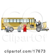 Clipart Illustration Of A Team Of Mechanics Working On The Engine Of A Broken Down Yellow School Bus