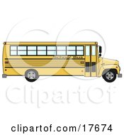 Clipart Illustration Of The Side Of An Empty Yellow School Bus by Dennis Cox