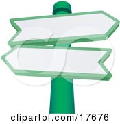 Clipart Illustration Of Two Blank Arrow Shaped Street Signs Pointing In Different Directions On A Green Pole