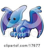 Cute Blue Pterodactyl Or Pteranodon Dinosaur With Purple Under Its Wings