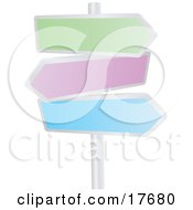 Clipart Illustration Of Three Blank Colorful Arrow Shaped Street Signs Pointing In Different Directions On A Pole
