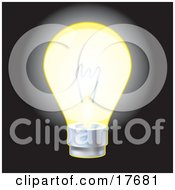 Clipart Illustration Of An Illuminated Electric Glass Light Bulb Symbolizing Energy Utilities And Ideas by AtStockIllustration