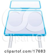 Clipart Illustration Of Two Blank Blue And White Road Signs