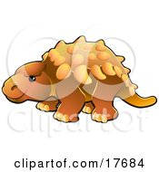 Clipart Illustration Of A Cute Orange Armored Dinosaur With Spikes Along Its Back