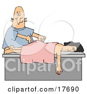 Clipart Illustration Of Nervous Bald Caucasian Man Massing A Womans Back by Dennis Cox