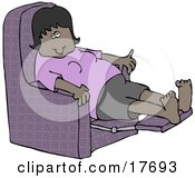 Tired African American Woman In A Purple Shirt Resting With Her Feet Up In A Purple Lazy Chair