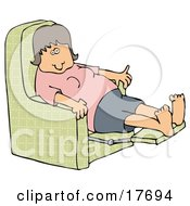 Tired Caucasian Woman In A Pink Shirt Resting With Her Feet Up In A Green Lazy Chair
