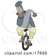 Clipart Illustration Of A Motivated African American Man Trying To Learn How To Stay Balanced While Riding A Unicycle by Dennis Cox