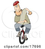 Clipart Illustration Of A Motivated Caucasian Man Trying To Learn How To Stay Balanced While Riding A Unicycle