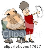 Clipart Illustration Of A Caucasian Woman Getting A Thrill Out Of Ripping A Wax Strip Off Of Her Husbands Hairy Back