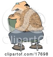 Clipart Illustration Of A Bald Middle Aged Caucasian Man With A Hairy Back Sitting Backwards In A Chair