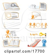 Royalty Free RF Clipart Illustration Of A Collection Of Community Hotline Website Icons Featuring The Orange Man Character A Search Photos Live Chat Information Links Login And Contest Icons by Leo Blanchette