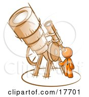 Orange Man Looking Through A Huge Telescope Up At The Stars In The Night Sky