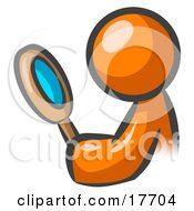 Orange Man Inspecting Something Through A Magnifying Glass
