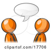 Clipart Illustration Of Two Orange Businessmen Having A Conversation With A Text Bubble Above Them