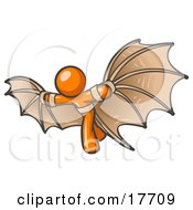 Clipart Illustration Of A Determined Orange Man Strapped In Glider Wings Prepared To Make Flight