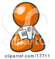 Clipart Illustration Of An Orange Man Holding Three Coupons Or Envelopes Symbolizing Communications Or Savings by Leo Blanchette