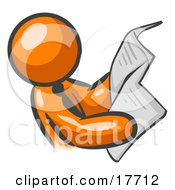 Clipart Illustration Of An Orange Man Wearing A Tie Leaning Back And Reading The Daily News In A Newspaper