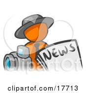 Clipart Illustration Of An Orange Man Wearing A Hat Posed In Front Of The News And A Camera