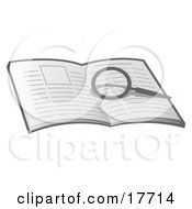 Clipart Illustration Of A Magnifying Glass Over An Open Book Researching And Looking For Information by Leo Blanchette