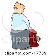 Casual Caucasian Man Urinating On A Red Fire Hydrant Clipart Illustration