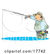 Middle Aged Cuacasian Man Wearing A Hat And Vest Wading In Water Holding A Fish And Fishing Clipart Illustration by djart