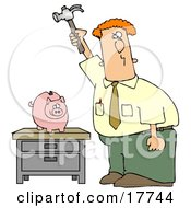 Red Haired Caucasian Businessman Holding A Hammer High Above A Piggy Bank On A Table Prepared To Break The Bank And Take The Money Out Of Savings Clipart Illustration