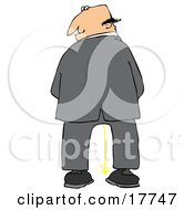 Caucasian Business Man Urinating And Looking Back Over His Shoulder Clipart Illustration