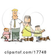 Caucasian Man And Woman Walking Their Dachshund Dogs And Children On Leashes