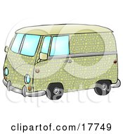 Cool Green And Yellow Hippie Van With Patterns Of Moon And Stars Clipart Illustration