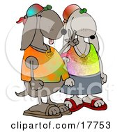 Cool Hippie Dog Couple Wearing Tie Dye Shirts And Sandals One Dog Flashing The Peace Sign Clipart Illustration