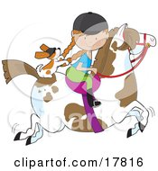 Little Girl Riding A Painted Pony With A Cavalier King Charles Spaniel Sitting Behind Her Holding On To Her Braids