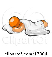 Clipart Picture Of An Orange Man Sleeping With His Head Resting On A Soft Pillow And A Blanket Over Him