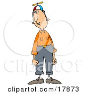 Nerdy Caucasian Man With Buck Teeth Wearing A Spinner Hat Orange Shirt And Pants And Looking To The Side